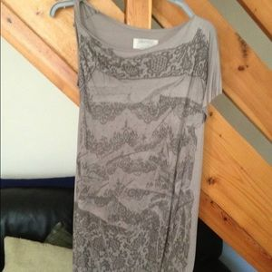 All Saints grey asymmetrical top with lace print